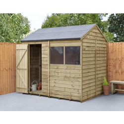 Forest Garden Overlap Pressure Treated Reverse Apex Shed 8 x 6ft