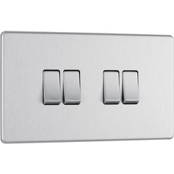 BG BG Screwless Flat Plate Brushed Stainless Steel 10AX Light Switch 4 Gang 2 Way - 55279 - from Toolstation