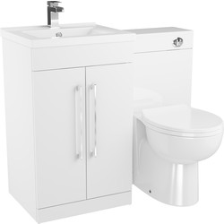 Cassellie 2 Door Bathroom Unit Gloss White 1000mm - 55407 - from Toolstation