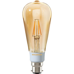 Sylvania Sylvania LED Filament Effect Golden Dimmable ST64 Lamp 5.5W BC 560lm A++ - 55518 - from Toolstation