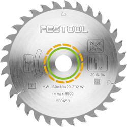 Festool Festool HK(C)55 Saw Blade 160 x 1.8 x 20mm Fine Tooth - 55599 - from Toolstation