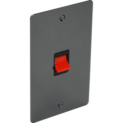 Flat Plate Black Nickel 45A DP Switch Tall - 55629 - from Toolstation