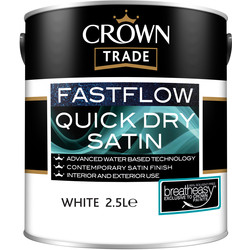 Crown Trade Crown Trade Fastflow Quick Dry Satin Paint 2.5L White - 55700 - from Toolstation