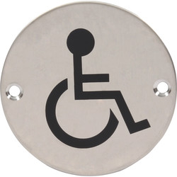 Satin Stainless Steel Door Sign Disabled 75mm
