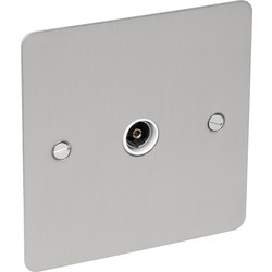 Axiom Flat Plate Plate Satin Chrome TV Socket Outlet TV Single - 55945 - from Toolstation