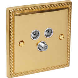 Unbranded Georgian TV / Satellite Socket Outlet Satellite/TV/FM - 55993 - from Toolstation
