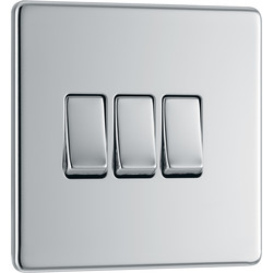 BG BG Screwless Flat Plate Polished Chrome 10AX Light Switch 3 Gang 2 Way - 56062 - from Toolstation