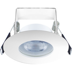 Integral LED Integral LED 3.8W Evofire+ IP65 Integrated Fire Rated Dimmable Downlight Chrome 390lm Warm White - 56182 - from Toolstation