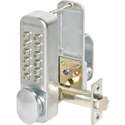 Easy Code Push-Button Lock with Turn Satin Chrome - 56625 - from Toolstation