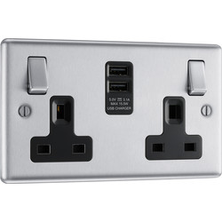 BG BG Brushed Steel USB 13A Black Insert Switched Socket 2 Gang + 2 USB (3.1A) - 56716 - from Toolstation