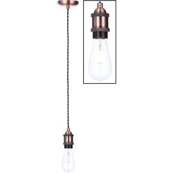 Inlight Vintage Antique Copper Pendant Cable Set Black Cable - 56801 - from Toolstation