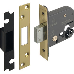 Euro Profile Deadlock 64mm Polished Brass - 56904 - from Toolstation