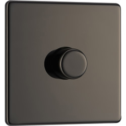 BG BG Screwless Flat Plate Black Nickel Dimmer Switch 1 Gang 2 Way - 56928 - from Toolstation