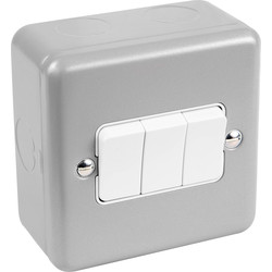 MK MK Metal Clad 10A Switch 3 Gang 2 Way - 56960 - from Toolstation