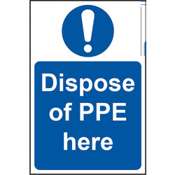 Centurion 'Dispose of PPE Here' Wall Sign 200 x 300mm - 56974 - from Toolstation