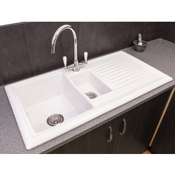 Reginox Reginox 1 1/2 Bowl Ceramic Kitchen Sink & Drainer White - 56998 - from Toolstation