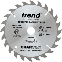 Trend Trend Craft Circular Saw Blade 160 x 24T x 20mm CSB/16024 - 57446 - from Toolstation
