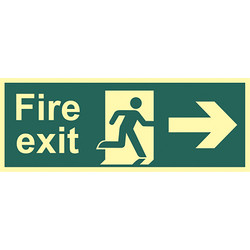 Photoluminescent Fire Exit Sign Fire Exit Right - 57496 - from Toolstation