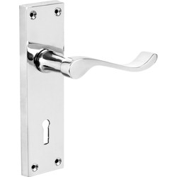 Hiatt Victorian Scroll Door Handles Lock Polished - 57742 - from Toolstation