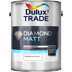 Dulux Trade Diamond Matt Emulsion Paint 5L Pure Brilliant White