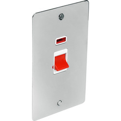 Flat Plate Polished Chrome 45A DP Switch Tall + Neon - 58049 - from Toolstation