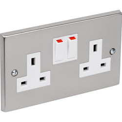 Unbranded Satin Chrome / White Switched Socket 2 Gang - 58060 - from Toolstation