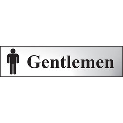 Centurion Chrome Effect Door Sign Gentlemen - 58198 - from Toolstation