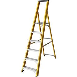Lyte Ladders Lyte Heavy Duty Fibreglass Platform Step Ladder 6 Tread, Closed Length 2.04m - 58317 - from Toolstation