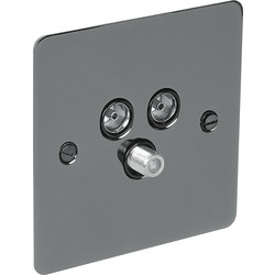 Flat Plate Black Nickel TV / Satellite Socket Outlet Satellite/TV/FM - 58373 - from Toolstation