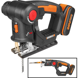 Worx Worx WX550 20V MAX Li-Ion Cordless Multi Purpose Jigsaw 1 x 2.0Ah - 58570 - from Toolstation