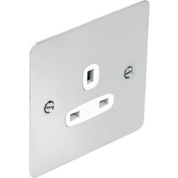 Flat Plate Polished Chrome 13A Socket 1 Gang Unswitched - 58628 - from Toolstation