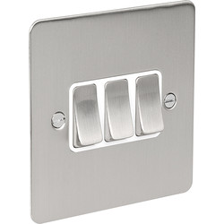Flat Plate Satin Chrome 10A Switch 3 Gang 2 Way - 58891 - from Toolstation