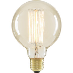 Inlight G95 Vintage Incandescent Decorative Dimmable Lamp 40W ES (E27) Clear 140lm - 58925 - from Toolstation