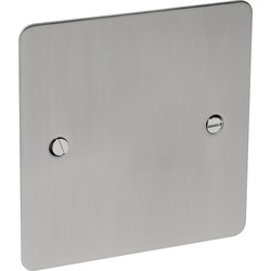 Flat Plate Satin Chrome Blank Plate 1 Gang - 58957 - from Toolstation
