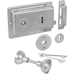 ERA Rim Lock with Handles Satin Chrome - 59001 - from Toolstation