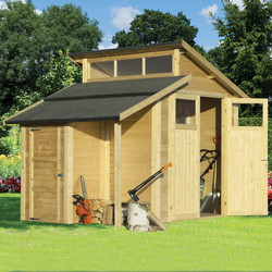 Rowlinson Rowlinson Skylight Shed With Store Unpainted Natural 7' x 10' - 59052 - from Toolstation