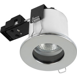 Sylvania Sylvania Fire Rated Fixed IP65 GU10 Downlight Brushed Steel - 59077 - from Toolstation