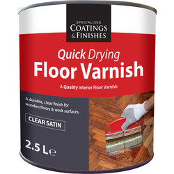 Barrettine Quick Drying Floor Varnish Clear Satin 2.5L - 59128 - from Toolstation