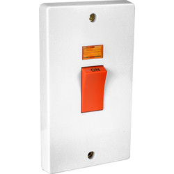 Crabtree Crabtree 45A DP Cooker Switch 2 Gang Upright Neon - 59284 - from Toolstation