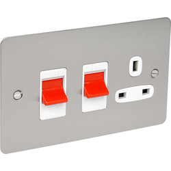 Flat Plate 45A DP Switch & 13A Switched Socket  - 59293 - from Toolstation