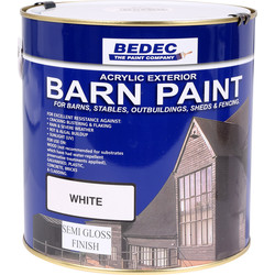 Bedec Bedec Barn Paint Semi Gloss White 2.5L - 59382 - from Toolstation