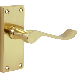 Victorian Scroll Door Handles Short Latch Brass - 59673 - from Toolstation