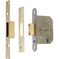 ERA Viscount 5 Lever Mortice Deadlock 64mm Brass - 59702 - from Toolstation