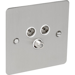 Axiom Flat Plate Satin Chrome Satellite Socket Outlet Satellite/TV/FM - 60198 - from Toolstation