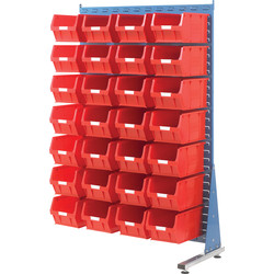 Barton Barton Steel Louvre Panel Adda Stand with Red Bins 1600 x 1000 x 500mm with 28 TC5 Red Bins - 60355 - from Toolstation