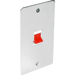 Flat Plate Polished Chrome 45A DP Switch Tall - 60437 - from Toolstation
