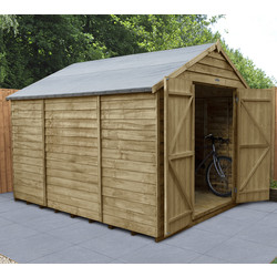 Forest Forest Garden Overlap Pressure Treated Shed - Double Door, No Windows 10' x 8' - 60459 - from Toolstation