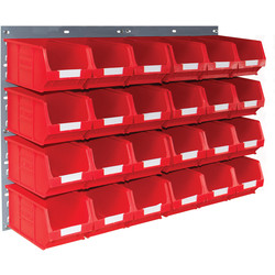 Barton Barton Steel Louvre Panel with Red Bins 641 x 457mm with TC3 Red Bins - 60501 - from Toolstation