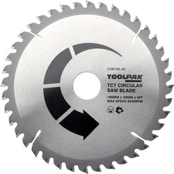 Toolpak Toolpak TCT Circular Saw Blade 190 x 30 x 40T - 60502 - from Toolstation