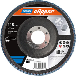 Norton Flap Disc 115mmx22mm 80 Grit - 60521 - from Toolstation